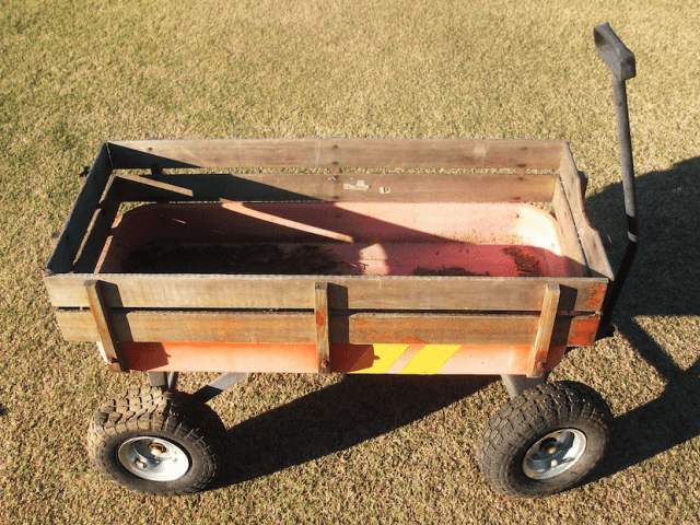 If you have kids, chances are you have a rusting old unused wagon sitting beside your toolshed. Without spending any real money, you can take this beat up old toy and create a handy tool for the pit crew.