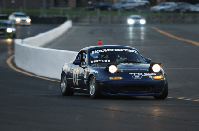 Mark Drennan piloting his number 10 Mazda Miata earned the E3 win in a heavily fought class.