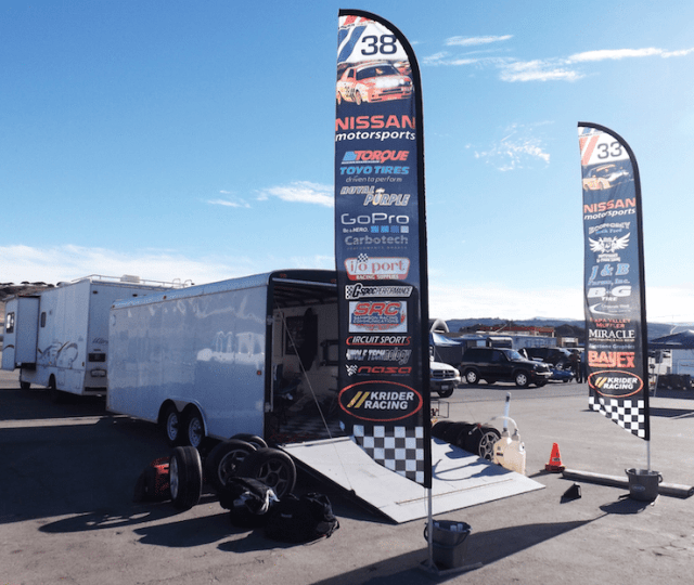 Help your friends find you in the paddock with a couple of free standing sponsor roll flags. They make your team look professional (even if you're not) and are a great way for you to get the word out for the companies kind enough to sponsor you.