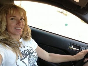 """NASA Rocky Mountain racer Lea Croteau (inset selfie) handled stunt-driving duties for actor Imogen Poots in the movie """"Need for Speed,"""" which is due out on DVD August 5."""