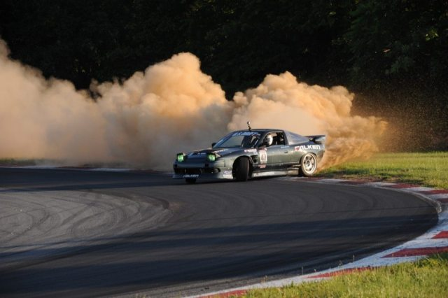 The drifting competition sometimes looks a bit like rally cross.