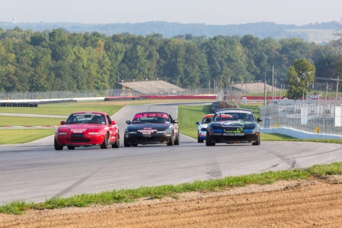 "Three wide at corner entry can be dicey, but many tracks are wide enough to do just that. The Keyhole at Mid-Ohio is plenty wide, but the outside can get pretty dirty with rubber ""marbles."""