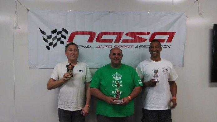 From left: Michael Mihld finished third in Spec E30 on Saturday. Steve Stepanian finished first, tailed by JoJo McKenzie in second.