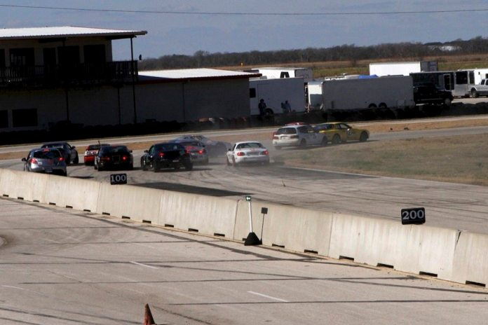 One of the momentum cars carries a bit too much momentum into Turn 1 during the Lightning race at Motorsports Ranch Houston in January.