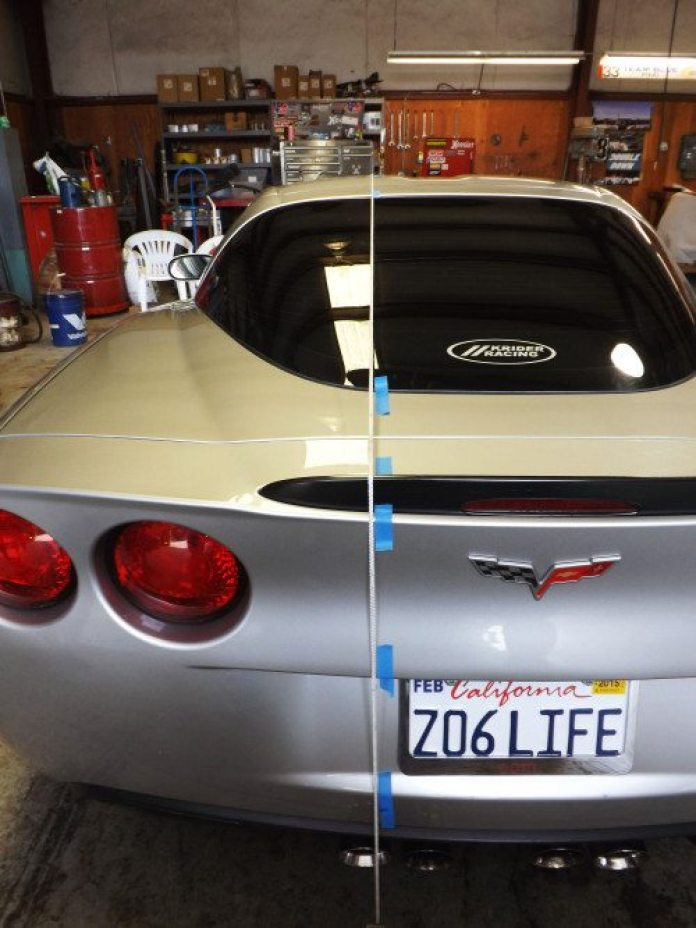 The single piece of string was placed along the entire length of the Corvette to estimate and visualize if the stripe would look good. We used two jack stands to weigh down the ends of the string so it was straight and taut on the car. Then we traced the string location with masking tape to guide the vinyl.