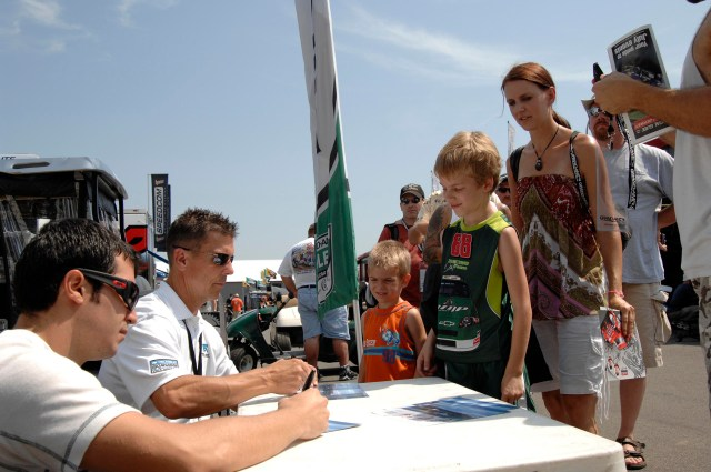 """Grand Am drivers sign autographs when the series race at NJMP's """"Thunderbolt"""" course."""