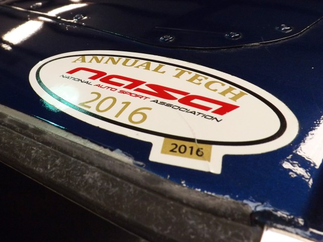 The NASA 2016 tech sticker was our goal. If all of the safety equipment is installed correctly, then this is the decal you earn to get out on track and start having fun.