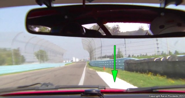 """When exiting Turn 9, a bigger arc equals more speed. Use the """"bubble"""" and some exit curbing."""