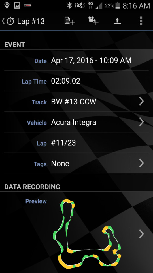 This data screen shows the date, time, lap time, track, vehicle, number of laps for the session, etc. It also shows a map of the course. You can add your own notes regarding setup, weather etc. for your own database. Impressive for $19.99 and a couple of zip ties.