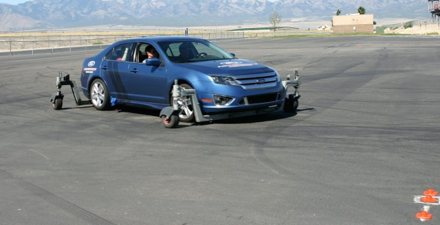 The skid car allows students to experience understeer and oversteer conditions on the skid pad, and learn how to correct each before they go out on track where there is less room for error.