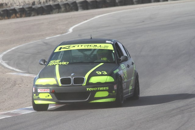 Steve Ferrario saw his way through the dust storm to set a pace that allowed him to take second place in Spec E46.