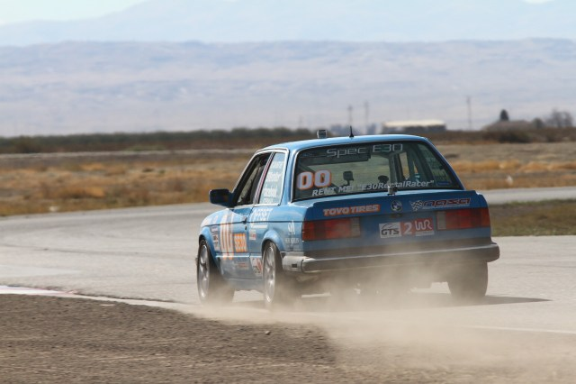 Steve Stepanian fought through caution periods and clouds of Buttonwillow dust to take second in GTS2.