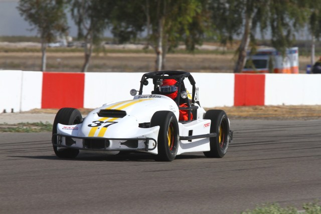 Brian Gibson didn't finish the race, but he still finished third in Thunder Roadster.