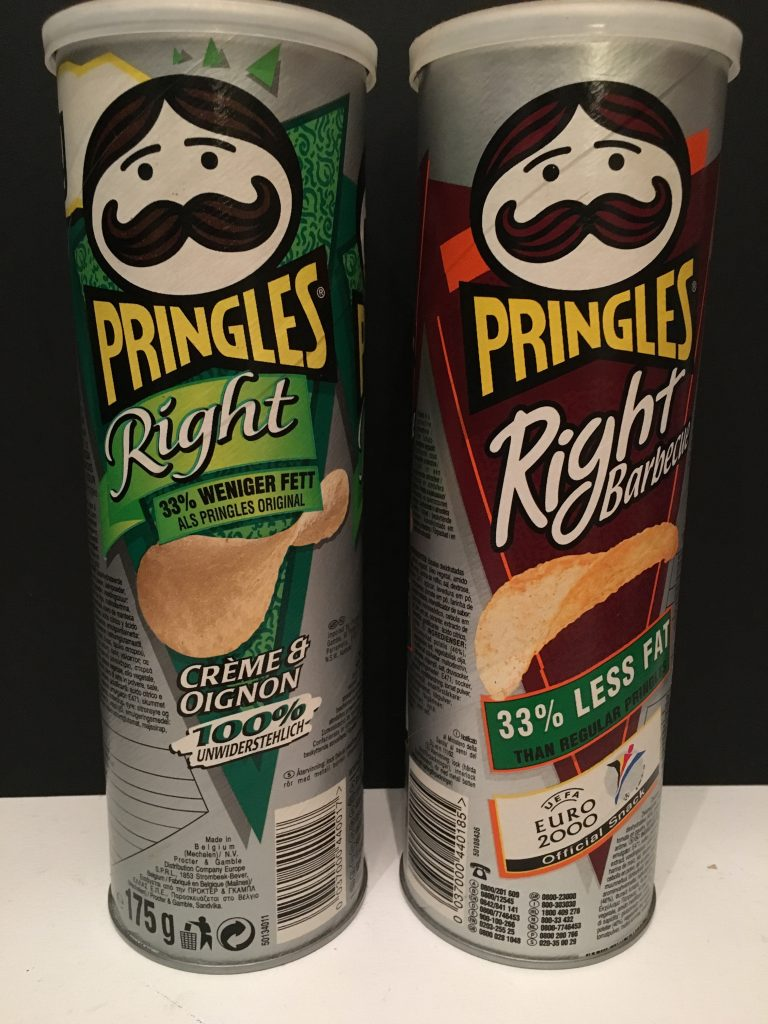 Pringles Right mit 33% weniger FEtt in Créme+Oignon sowie Barbecue, 175G, 2015