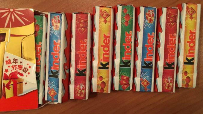 KINDER Schokolade Ferrero Riegel aus Hong Kong