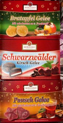 Berggold Bratapfel-Gelee Schwarzwälder Kirsch-Gelee und Punsch-Gelee