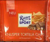 Endlich ein mutiger Schritt raus aus dem Geschmacksallerlei deutscher Schokoladen: Tortillas in Schokolade bei Ritter Sport.