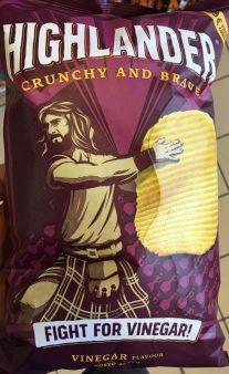Immer so kämpferisch diese Highlander-Chips, aber immerhin bemühen sie sich um Originalität. Dieses Mal: Fight for Vinegar! (Kämpfe für Essig!)