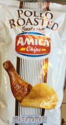 Einfach schön: Ein gebratener Hähnchenschenke auf der Packung dieser Chips der Sorte Amica Pollo.