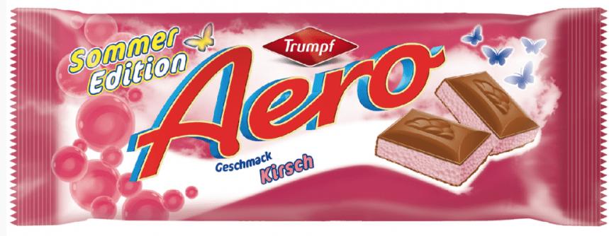 Aero-Schokolade gibt es auch von Trumpf und sogar in Erdbeer-Geschmack.