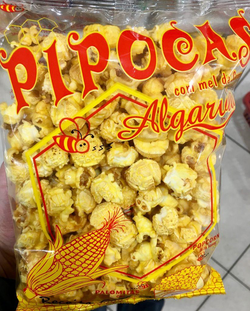 Pipocas Algarida Popcorn mit Honig und Bienenmotiv