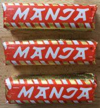 Manja ist ein kleiner, weicher Riegel, gefüllt mit Schokoschaum.