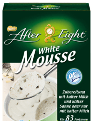 Weiße Mousse von After Eight.