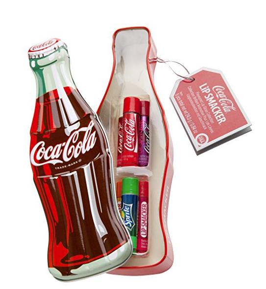 6 Lippenstifte von Cola inklusive Fanta und Sprite in einer Metalldose in Form einer Cola-Flasche
