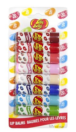 Lippenstift-Auswahl mit verschiedenen Jelly Belly Geschmacksrichtungen