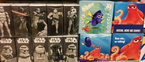 Taschentücher mit Motiven Star Wars und Findet Nemo Dorie
