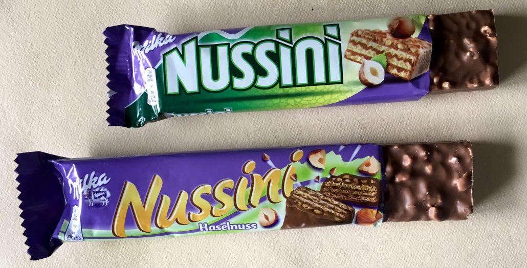 Alte und neue Nussini-Verpackungen im Vergleich.