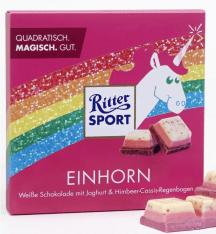 Ritter Sport Einhorn Weiße Schokolade mit Joghurt & Himbeer-Cassis-Regenbogen