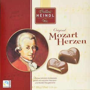 Confiserie Heindl Wien Original Mozart Herzen aus Vollmilch-Marzipan und Mandel-Nougatcreme 200 Gramm