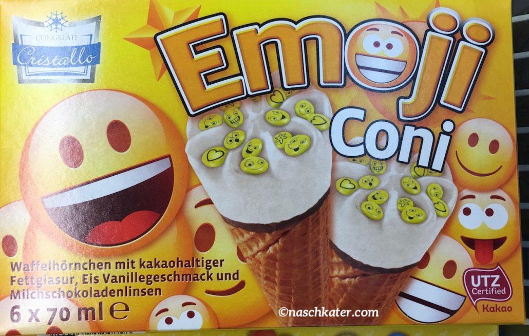 Congelati Cristallo Emoji Coni Waffelhörnchen mit kakohaltiger Fettglasur, Eis Vanillegeschmack und Milchschokoladenlinsen