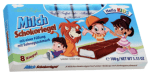 """Man erkennt schon an der ähnlichen Verpackung den Hersteller beider Schokoriegel (Einhorn und Hello Kids"""": Billiganbieter Gunz."""