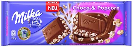 Milka Tafelschokolade Choco und Popcorn.