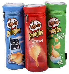 Stifte-Box von Pringles in drei Farben