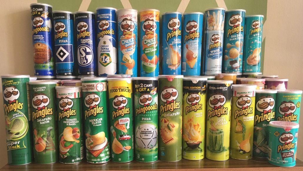 Pringles Blau- und Grüntöne