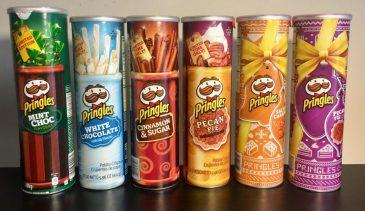 Pringles Hier eine Auswahl von süßen Pringles Mint Choc, White Chocolate, Cinnamon, Pecan Pie, Salted Caramel