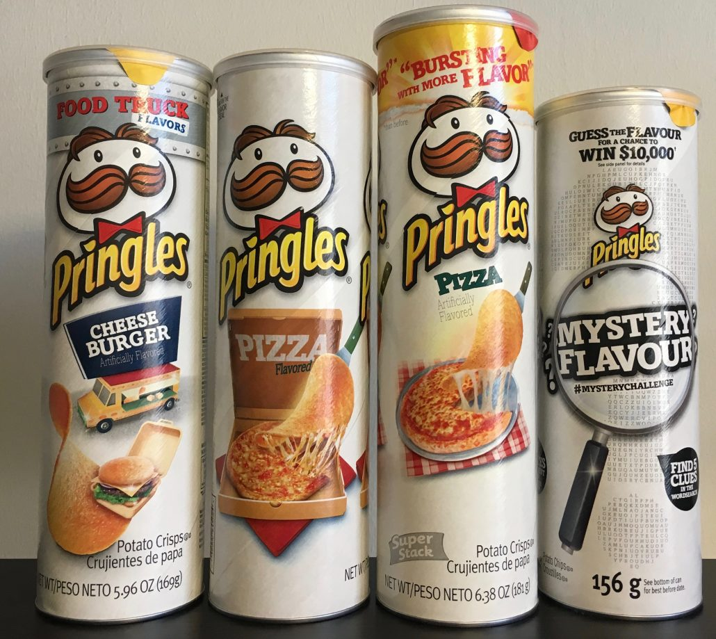 Pringles weiß-Cheese Burger-Pizza-Pizza-Mystery Flavour