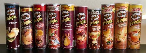 Rot-braune Pringles-Dosen-Serie