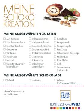 Ritter Sport Schokowelt Berlin Bestellkarte