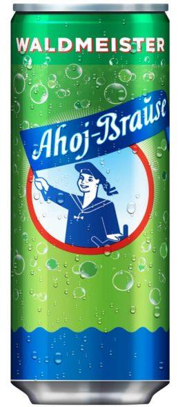 Ahoj-Brause mit Waldmeistergeschmack fertig gemischt in der Dose.