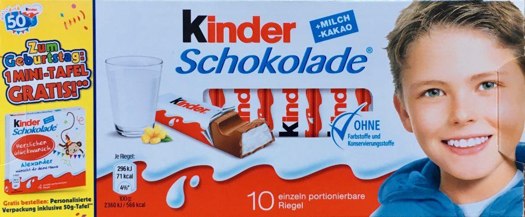 Ferrero Kinderschokolade Geburtstagsgeschenk