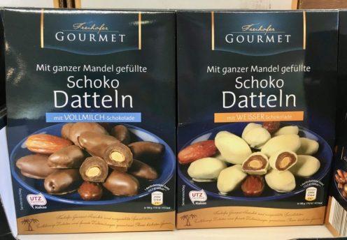 Aldi Freihofer Gourmet Schoko Datteln dunkel und weiß