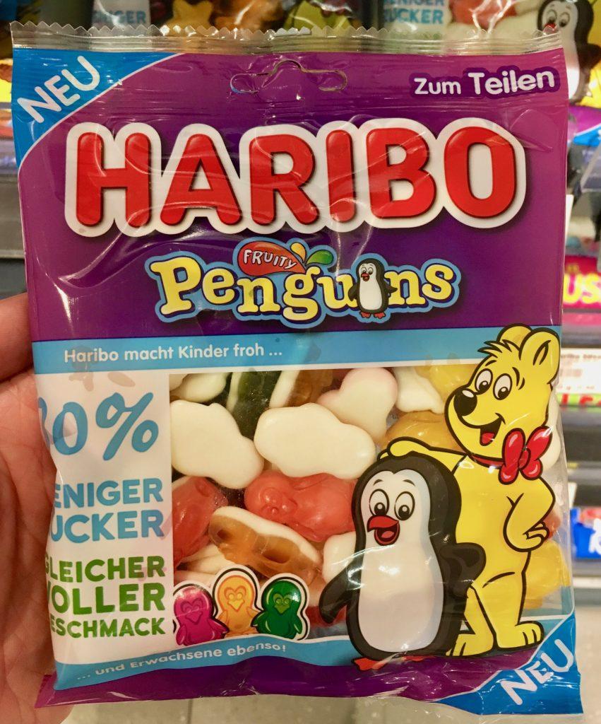 Haribo Penguins 30% weniger Zucker, allerdings sind die sehr hart und unangenehm zu kauen.