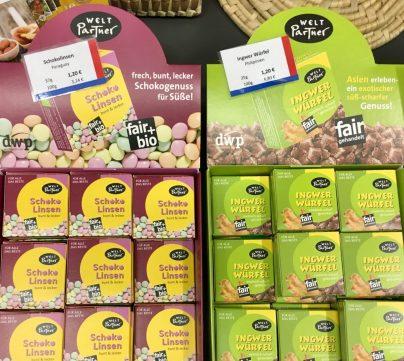 Weltpartner Schoko-Linsen Ingwer Würfel Fairtrade