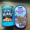 Heinz Baked beans und Makrelenfilets in der Dose Junk Food