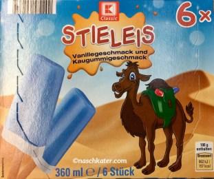 KClassic Blaues Stieleis mit Vanillegeschmack und Kaugummigeschmack Kamel auf Verpackung