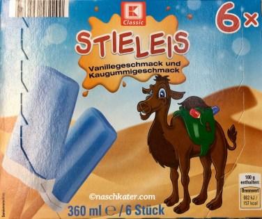 KClassic Blaues Stileis mit Vanillegeschmack und Kaugummigeschmack Kamel auf Verpackung